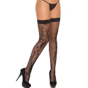 Fishnet Thigh High Stockings with Scroll OS